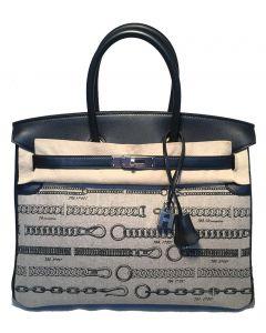 NEW Limited Edition Hermes Toile de Camp Dechainee Canvas Black 35cm Birkin Bag