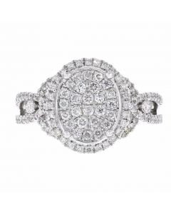 0.68ct Pave Diamond 14k White Gold Oval Ring Size 7, G-H, SI1-SI2