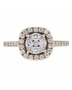 0.62ct Pave Diamond 18k Rose Gold Square Ring Size 7, G-H, SI1-SI2