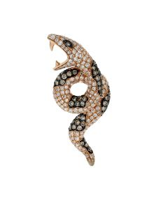1.41ct Diamond 14k Rose Gold Snake Pendant