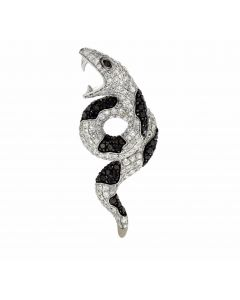 1.41ct Diamond 14k White Gold Snake Pendant