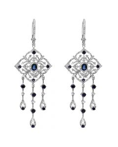 1.17CT DIAMOND 14K WHITE GOLD AND SAPPHIRE CHANDELIER EARRINGS
