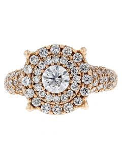 2.35ct Diamond 14k Rose Gold Engagement Ring Size 7