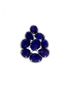 19.90ct Lapis 18k White Gold and Diamond Cocktail Ring Size 7