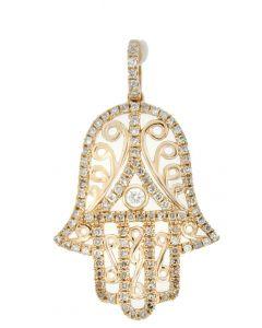 GLK 14K ROSE GOLD 0.45CT DIAMOND HAMSA HAND PENDANT