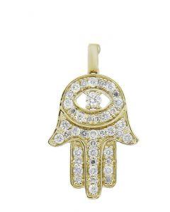GLK 14K YELLOW GOLD 0.50CT DIAMOND EMBELLISHED HAMSA HAND