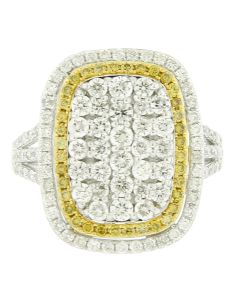 NEW GLK 14K WHITE GOLD 1.88CT DIAMOND CUSHION SHAPED SPLIT SHANK RING