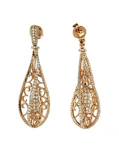 GLK 18K ROSE GOLD 2.95CT DIAMOND EMBELLISHED FILIGREE EARRINGS