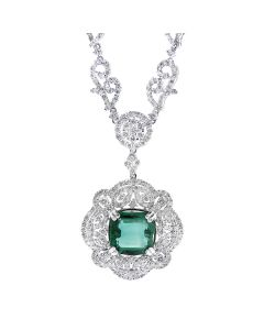 GLK 18K WHITE GOLD EMERALD AND 13.00CT DIAMOND EMBELLISHED NECLACE