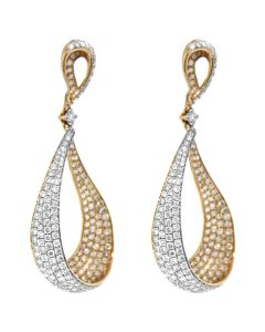 3.63CT DIAMOND 14K ROSE GOLD LOOP EARRINGS