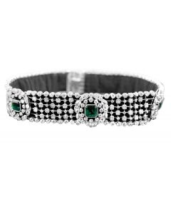 PLATINUM 3 EMERALD AND DIAMOND RIBBON CHOKER