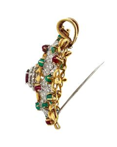 Yellow Gold Ruby Emerald Pendant Brooch