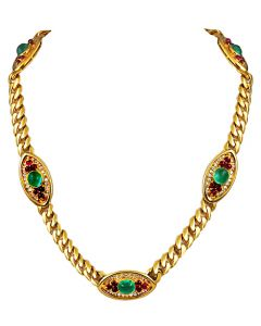 BULGARI Cabochon Emerald Ruby Diamond Necklace & Earrings