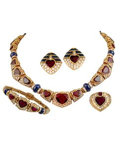 BVLGARI HEART SHAPE RUBY, DIAMOND, SAPPHIRE NECKLACE SUITE