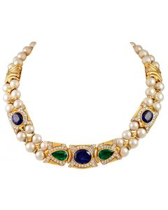 BVLGARI SAPPHIRE, EMERALD, DIAMOND AND PEARL NECKLACE