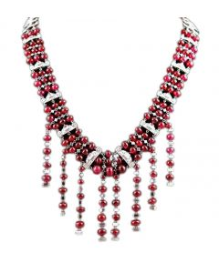 PLATINUM DIAMOND AND RUBYLITE BEADS NECKLACE