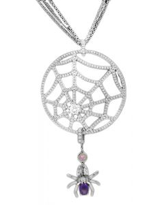 CHAUMET DIAMOND AND AMETHYST SPIDER WEB NECKLACE