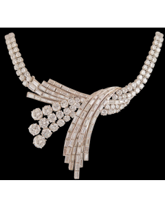 Circa 1950's STERLE' Platinum Diamond Necklace