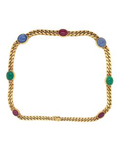 Bvlgari 18K Yellow Gold Sapphire Emerald Cabochon Ruby Link Necklace