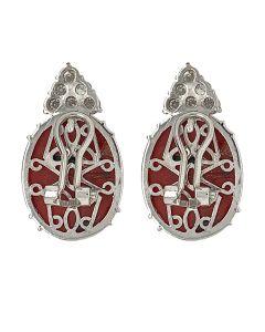Coral 18k Gold Diamond Earclip Earrings