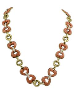 CORAL AND DIAMOND HEARTS NECKLACE