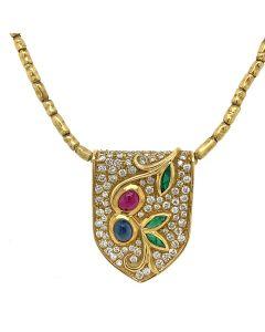18K Yellow Gold Diamond Emerald Ruby & Sapphire Necklace Pendant