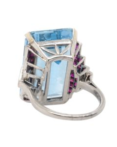 Platinum 35.10 CT Aquamarine Ruby Diamond Deco Cocktail Ring