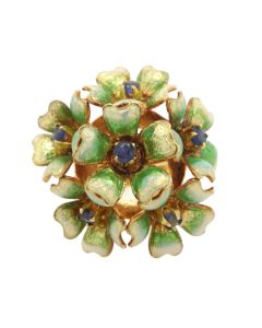 18K Yellow Gold Enameled Floral Bookey Ring