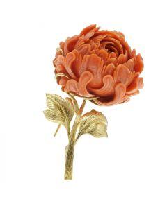 David Webb 18k Gold  Coral Flower Brooch