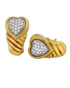 David Yurman 18K Yellow Gold and Diamond Heart Earrings