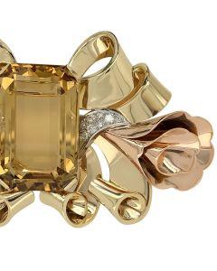 14k Yellow Gold Large Citrine Diamond Brooch