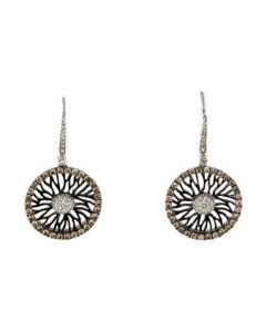 14K DIAMOND SPIRAL DISC DROP EARRINGS