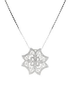 1.33CTW 18K WHITE GOLD DIAMOND FLOWER NECKLACE