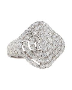 GLK 18K WHITE GOLD 2.85CTW DIAMOND CONCAVE RING