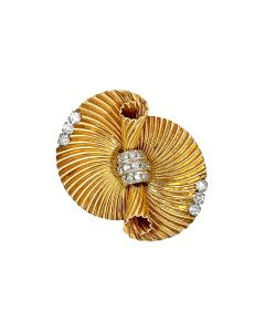 Cartier 14k Yellow Gold Diamond Clip Brooch