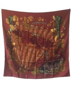 Hermes Vendanges Silk Scarf in Dark Red