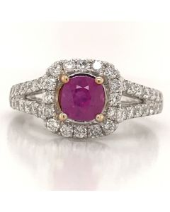 14 K WHITE GOLD, DIA- 0.83 CT, PINK SAPPHIRE- 1.12 CT, WEIGHT- 4.37 GR