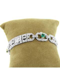 GLK PLATINUM DIAMOND AND GREEN STONE BRACELET