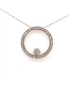 Circled Style White Diamond Pendant