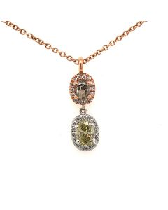 Rose gold Pendant with Fancy colored diamonds