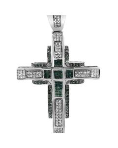 14k White Gold 5.26CT Diamond and Emerald Cross Pendant
