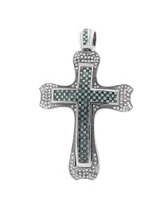 New 14K White Gold 6.05CT Diamond Cross Pendant