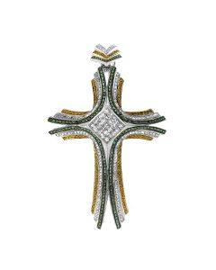 New 14k White Gold3.59CT  Diamond Citrine and Emerald Cross Pendant
