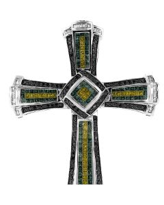 New 14k White Gold, Black and White 6.94CT Diamond, Emerald and Citrine Cross Pendant