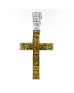 New 14K White Gold Citrine and 4.72CT Diamond Cross Pendant
