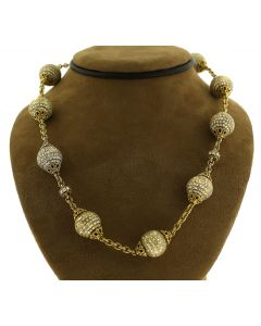 Judith Ripka 18K Yellow Gold and Diamond Ball Necklace