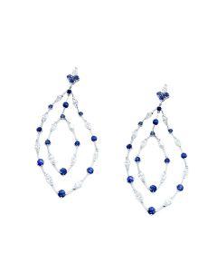 18K White Gold Diamond and Sapphire Earring