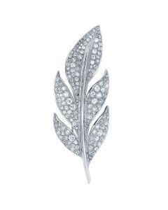 Platinum Art Deco Leaf Diamond Brooch