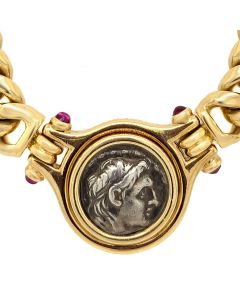 Bvlgari 18k Yellow Gold Link Necklace Set with Roman Coin