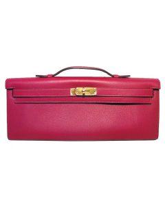 Hermes Fuchsia Swift Leather Kelly Cut Clutch Handbag